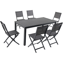 Hanover Naples 7-Piece Outdoor Dining Set with 6 Sling Folding Chairs in Gray and a 63