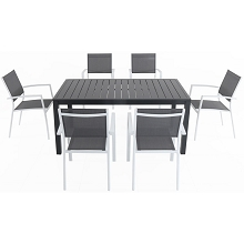 Hanover Naples 7-Piece Outdoor Dining Set with 6 Sling Chairs in Gray/White and a 63