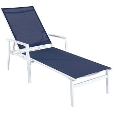 Hanover Naples Adjustable Sling Chaise in Navy Blue Sling and White Frame - NAPLESCHS-W-NVY