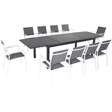 Hanover Naples 11-Piece Outdoor Dining Set with 10 Sling Chairs in Gray/White and a 40