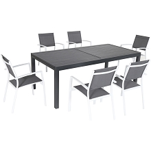 Hanover Naples 7-Piece Outdoor Dining Set with 6 Sling Chairs in Gray/White and a 40