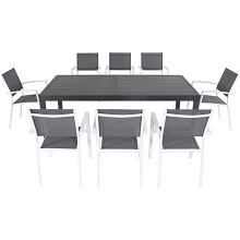 Hanover Naples 9-Piece Dining Set in Gray/White - NAPLESDN9PC-WHT