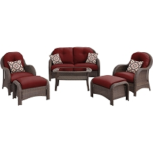 Newport 6PC Seating Set in Crimson Red - NEWPORT6PC-RED