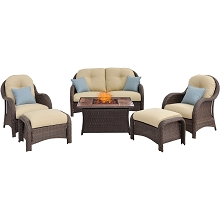 Newport 6PC Woven Seating Set with Woodgrain Tile Top in Cream - NEWPT6PCFP-CRM-WG