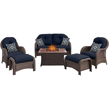 Newport 6PC Woven Fire Pit Set with Woodgrain Tile Top in Navy Blue - NEWPT6PCFP-NVY-WG