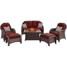 Newport 6PC Woven Seating Set with Tan Porcelain Tile Top in Crimson Red - NEWPT6PCFP-RED-TN