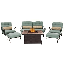 Oceana 6PC Woven Fire Pit Set with Tan Porcelain Tile Top in Ocean Blue - OCE6PCFP-BLU-TN