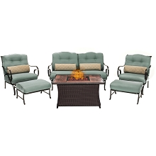 Oceana 6PC Woven Fire Pit Set with Woodgrain Tile Top in Ocean Blue - OCE6PCFP-BLU-WG