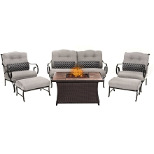 Oceana 6PC Woven Fire Pit Set with Tan Porcelain Tile Top in Silver - OCE6PCFP-SLV-TN