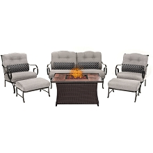 Oceana 6PC Woven Fire Pit Set with Woodgrain Tile Top in Silver - OCE6PCFP-SLV-WG