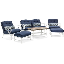 Oceana 6PC Patio Seating Set in Navy - OCECST6PC-NVY