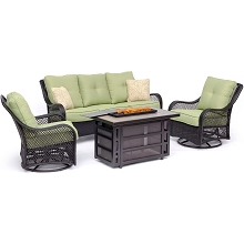 Hanover Orleans 4-Piece Woven Lounge Set with 30,000 BTU Fire Pit Table in Avocado Green - ORL4PCRECFP-GRN