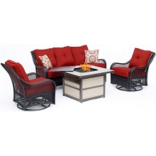 Hanover Orleans 4-Piece Woven Lounge Set with a 40,000 BTU Fire Pit Table in Autumn Berry - ORL4PCSQFP-BRY