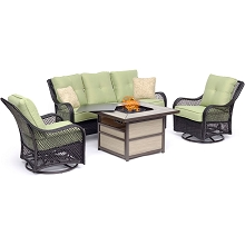 Hanover Orleans 4-Piece Woven Lounge Set with a 40,000 BTU Fire Pit Table in Avocado Green - ORL4PCSQFP-GRN