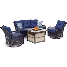 Hanover Orleans 4-Piece Woven Lounge Set with a 40,000 BTU Fire Pit Table in Navy Blue - ORL4PCSQFP-NVY