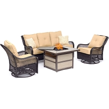 Hanover Orleans 4-Piece Woven Lounge Set with a 40,000 BTU Fire Pit Table in Sahara Sand - ORL4PCSQFP-TAN