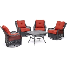 Hanover Orleans 5-Piece Patio Chat Set in Autumn Berry with 4 Swivel Rockers and a 32