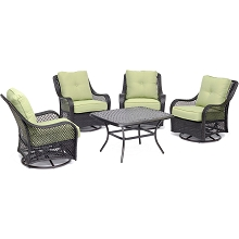 Hanover Orleans 5-Piece Patio Chat Set in Avocado Green with 4 Swivel Rockers and a 32