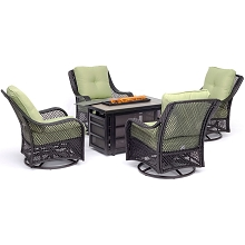 Hanover Orleans 5-Piece Fire Pit Chat Set with a 30,000 BTU Fire Pit Table and 4 Woven Swivel Gliders in Avocado Green - ORL5PCSW4RECFP-GRN