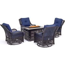 Hanover Orleans 5-Piece Fire Pit Chat Set with a 30,000 BTU Fire Pit Table and 4 Woven Swivel Gliders in Navy Blue - ORL5PCSW4RECFP-NVY