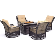 Hanover Orleans 5-Piece Fire Pit Chat Set with a 30,000 BTU Fire Pit Table and 4 Woven Swivel Gliders in Sahara Sand - ORL5PCSW4RECFP-TAN