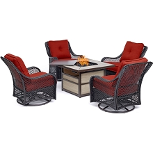 Hanover Orleans 5-Piece Fire Pit Chat Set with a 40,000 BTU Fire Pit Table and 4 Woven Swivel Gliders in Autumn Berry - ORL5PCSW4SQFP-BRY