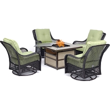 Hanover Orleans 5-Piece Fire Pit Chat Set with a 40,000 BTU Fire Pit Table and 4 Woven Swivel Gliders in Avocado Green - ORL5PCSW4SQFP-GRN