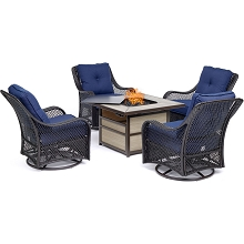 Hanover Orleans 5-Piece Fire Pit Chat Set with a 40,000 BTU Fire Pit Table and 4 Woven Swivel Gliders in Navy Blue - ORL5PCSW4SQFP-NVY