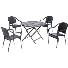 Orleans 5PC Round Wicker Dinning Set - ORLDN5PC-BRN