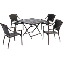 Orleans 5PC Square Wicker Dinning Set - ORLDN5PCSQ-BRN