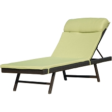 Orleans Luxury Chaise with Cushion, Brown/Green - ORLEANS2PCCHS