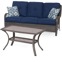 Orleans 2PC Seating Set in Navy Blue with Gray Weave - ORLEANS2PC-G-NVY