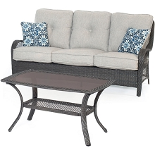 Orleans 2PC Seating Set in Silver with Gray Weave - ORLEANS2PC-G-SLV