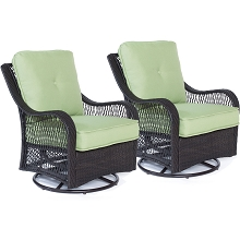 Hanover Orleans Swivel Gliding Chairs in Avocado Green - Set of Two - ORLEANS2PCSW