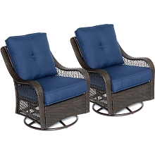Hanover Orleans Swivel Rocking Chairs in Navy Blue - Set of Two - ORLEANS2PCSW-B-NVY