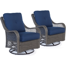 Hanover Orleans Swivel Rocking Chairs in Navy Blue - Set of Two - ORLEANS2PCSW-G-NVY