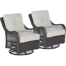 Hanover Orleans Swivel Rocking Chairs in Silver Lining - Set of Two - ORLEANS2PCSW-G-SLV