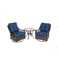 Orleans 3PC Chat Set In Navy Blue - ORLEANS3PCSW-B-NVY