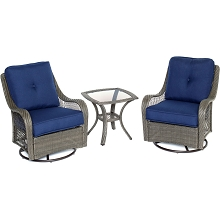 Orleans 3PC Chat Set In Navy Blue with Gray Weave - ORLEANS3PCSW-G-NVY