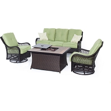 Orleans 4PC Woven Fire Pit Set with Wood Grain Tile Top in Avocado Green - ORLEANS4PCFP-GRN-A