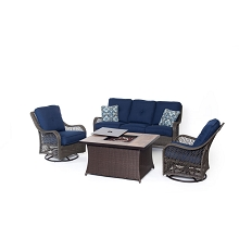 Orleans 4PC Woven Fire Pit Set with Wood Grain Tile Top in Navy Blue - ORLEANS4PCFP-NVY-A