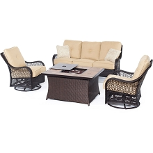 Orleans 4PC Woven Fire Pit Set with Tan Porcelain Tile Top in Sahara Sand - ORLEANS4PCFP-TAN-B