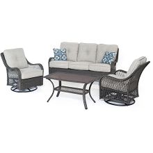 Orleans 4PC Seating Set In Silver with Gray Weave - ORLEANS4PCSW-G-SLV