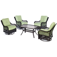 Orleans 5PC Patio Chat Set in Avocado Green - ORLEANS5PCSWCT-B-GRN