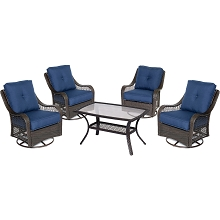 Orleans 5PC Patio Chat Set in Navy Blue - ORLEANS5PCSWCT-B-NVY