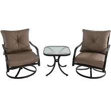 Palm Bay 3PC Swivel Chat Set - PALMBAY3PC-TAN