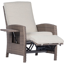 Hanover Portland Outdoor Recliner with Pop-Out Shelf in Grey, PORTREC-GRY