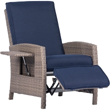 Hanover Portland Outdoor Recliner with Pop-Out Shelf in Navy Blue, PORTREC-NVY