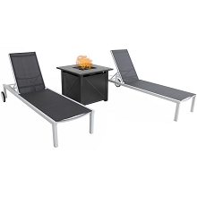 Mod Furniture Peyton Modern Outdoor Chaise Lounge Chair with All-Weather Aluminum Frames, Grey Sling, Wheels, 40,000 BTU Tile-Top Gas Fire Pit