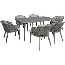 Mod Riley 7-Piece Mid-Century Modern Outdoor Dining Set with 6 Rope Cushioned Chairs and 63 in. x 35 in. Faux Wood Top Table, RLYDN7PC-GRY